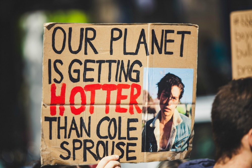 Climate change charities Cole Sprouse sign CREDIT Markus Spiske-Unsplash 2_picmonkeyed