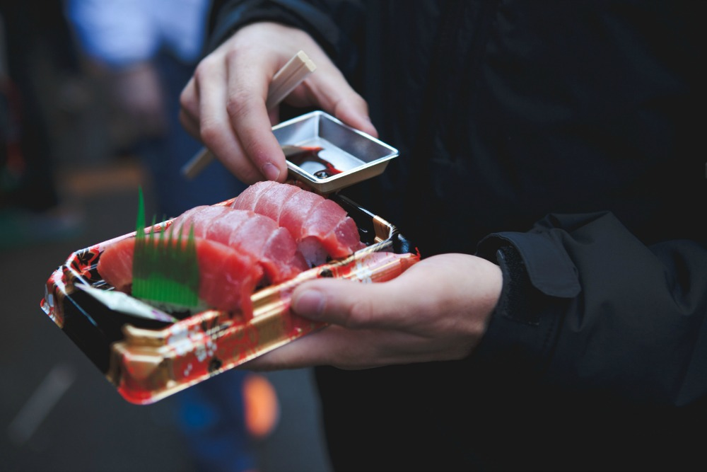 Trip to Tokyo sushi at Tsukiji Fish Market CREDIT Jonathan Forage on Unsplash
